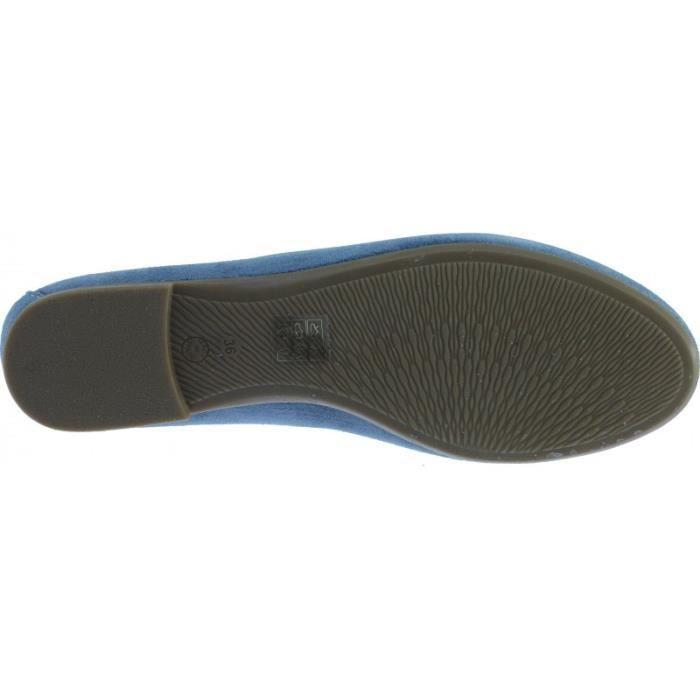 JACINTE - mocassin casual petit talon slippers chaussure femme marque Angelina fabrication Espagne cuir velours bleu marine