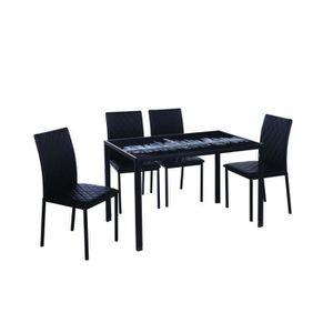 TABLE BASSE Table à manger + 4 chaises noir design