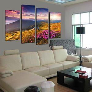 4 pièces peinture murale moderne fleurs paysage de montagne ...