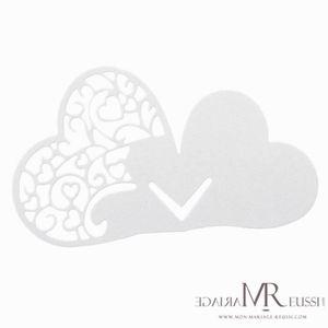 MARQUE-PLACE  1 Paquet de 10 marques places coeur dentelle blanc