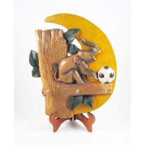 OBJET DÉCORATION MURALE Porte-clés Eléphant en bois de suar - 25x30