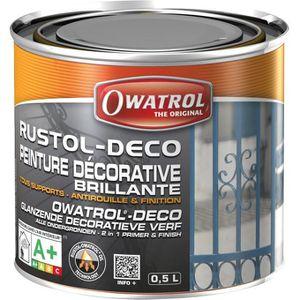 PEINTURE - VERNIS Anti-rouille Rustol - gris fenêtre - 0.75 L