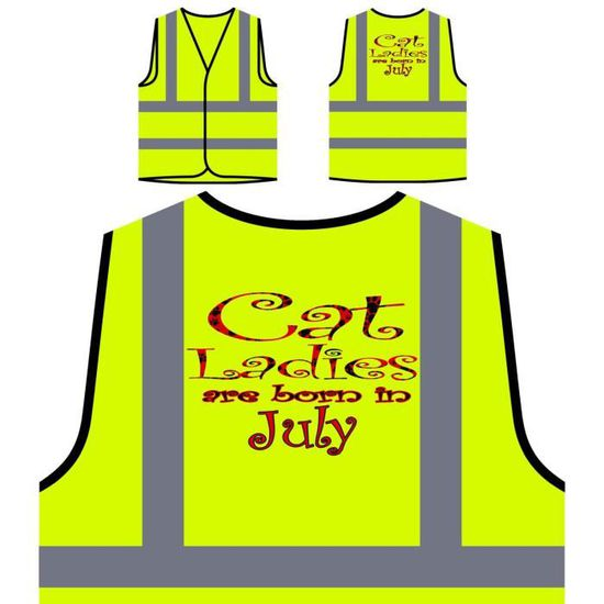 En cat Ladies À Haute Née Veste Est Protection Juillet Jaune Personnalisée Visibilité De 8Ox0qTwP