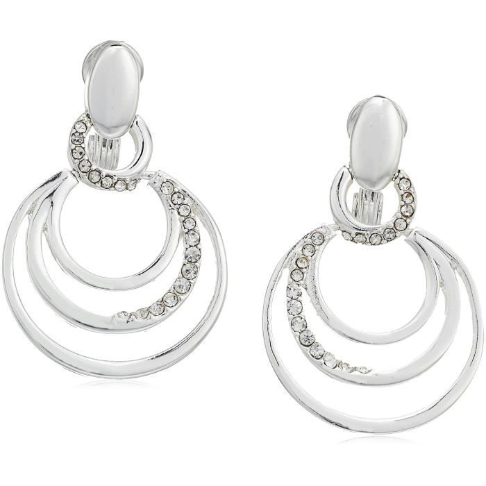 Anne Klein Womens 3 Ring Pave Clip-on Earrings Y66D6