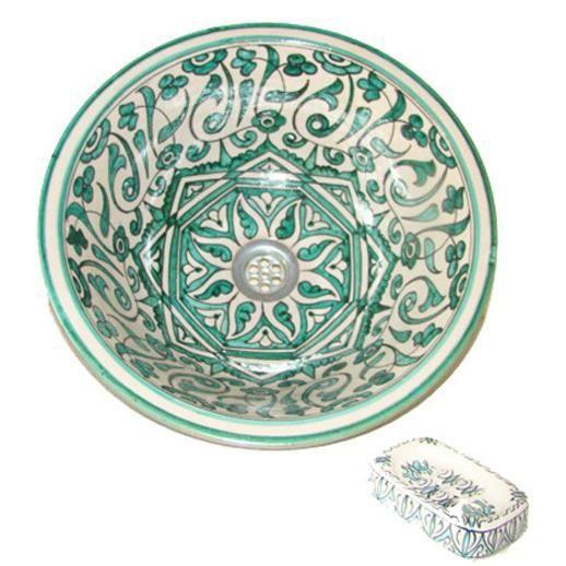 Vasque marocaine en céramique 40cm à poser ou à encastrer avec porte ...