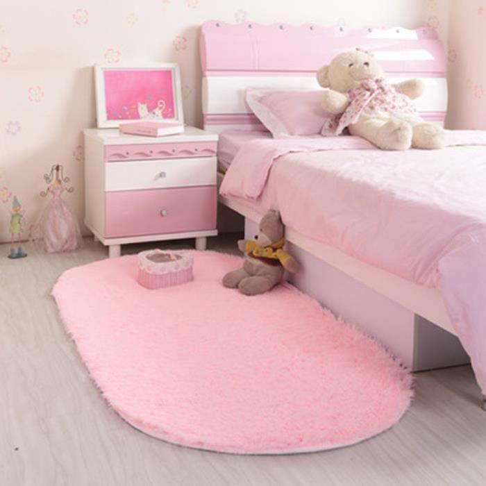 Tapis Salon carpet tapis chambre devant lit Ovale Tapis Shaggy Yoga  Moquette Anti-dérapage Absorbant Velours 80*160cm Rose pâle