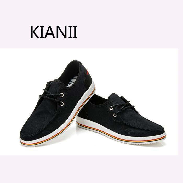 KIANII® Chaussures Homme Toile Haute qualité-2016 Noir 02WDLP