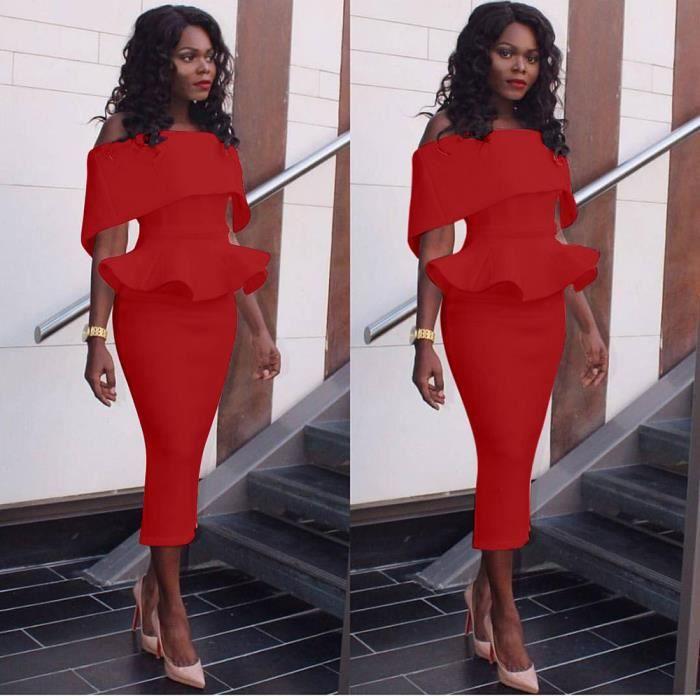 Napoulen®Femmes bureau formel travail soirée affaires élégante robe crayon populaire Rouge XXP71212493RD