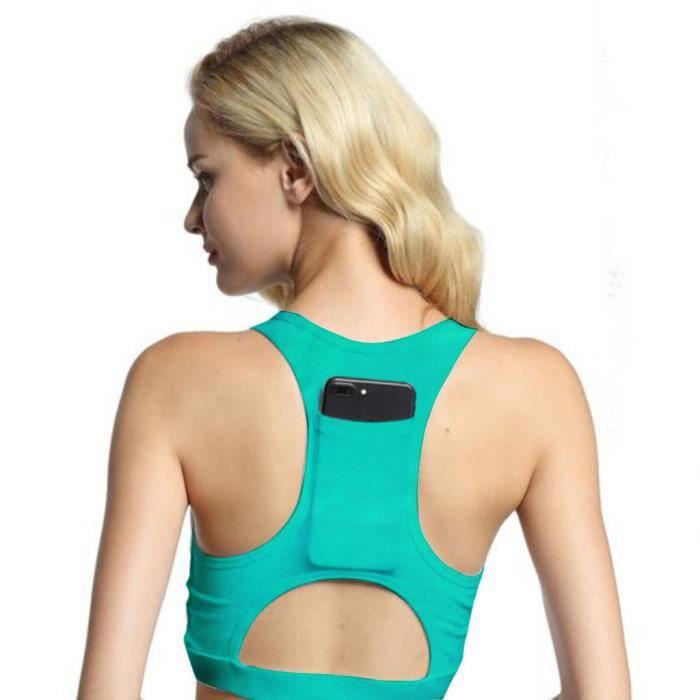 Lfy81115201gn 2 Vert One Piece Tasse De 1 Soutien Sport Avec Respirant Poche gorge Yoga Fittness Femmes Z186wqU6