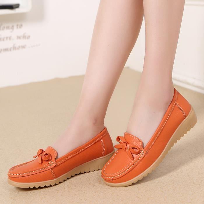 Flats Pois Conduite Vritable Chaussures Casual Femme Cuir LVqUGSzpM