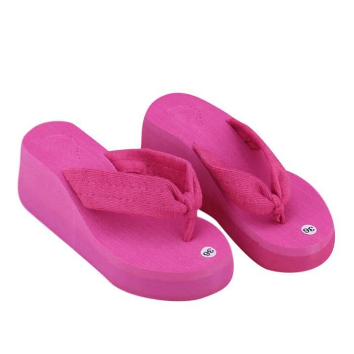 Chausson Chaussures Flops Mode Femmes Pantoufles Tong D' Wedge Plate Flip forme twgZn6