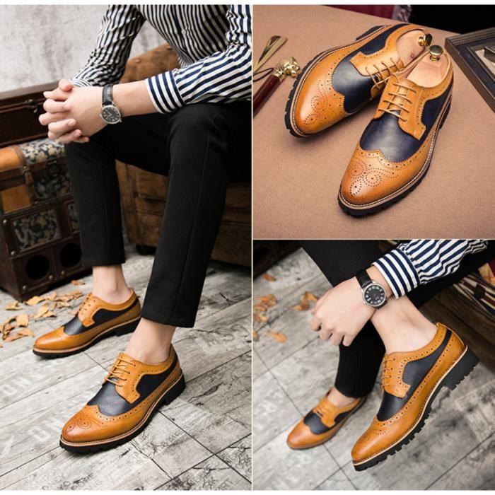 OLALI® Hommes En Cuir Robe Chaussures D'affaires formelle Hommes Bureau Dentelle-up Chaussures(Taille de la Chine)