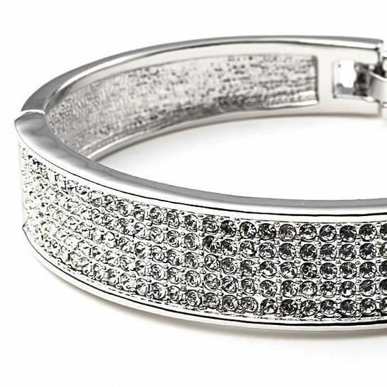 CO Bracelet Bangle en Cristal de Swarovski Element Blanc et Plaqué Or Blanc