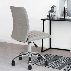 CHAISE DE BUREAU Chaise de bureau Fauteuil Gris Doré Tissu Métal Ch