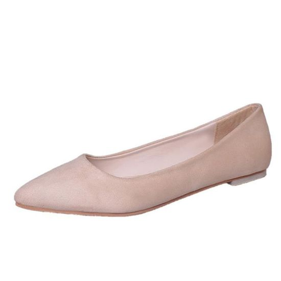 Fashion Femmes Girl Flat Pointed Top Shallow Slip-on Casual Shoes Party Shoes Beige_UJI*6103 Beige Beige - Achat / Vente slip-on
