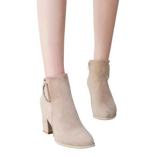 Automne et hiver Femmes glissière latérale talon épais Martin Bottes Chaussures cheville Beige Beige - Achat / Vente botte