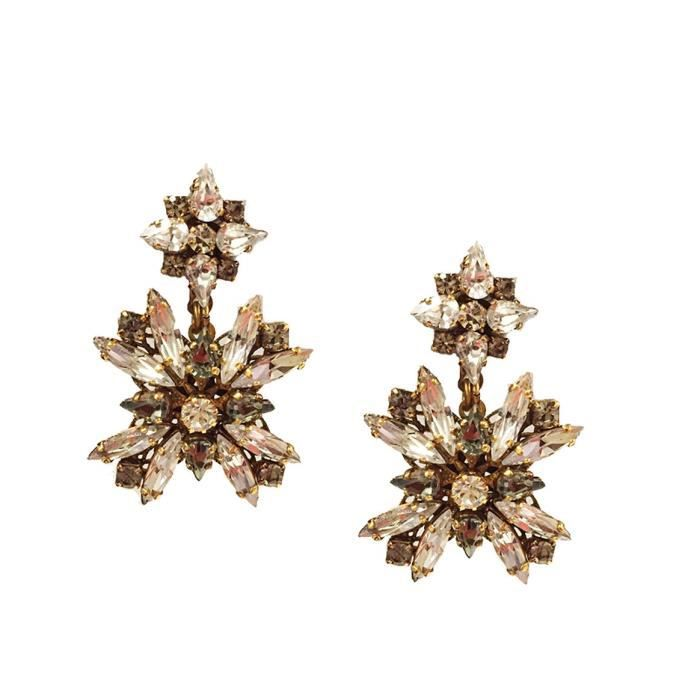 Garden Essentials Clear Swarovski Crystals 23 Ct Gold Plated Drop Earrings 1RZL0B