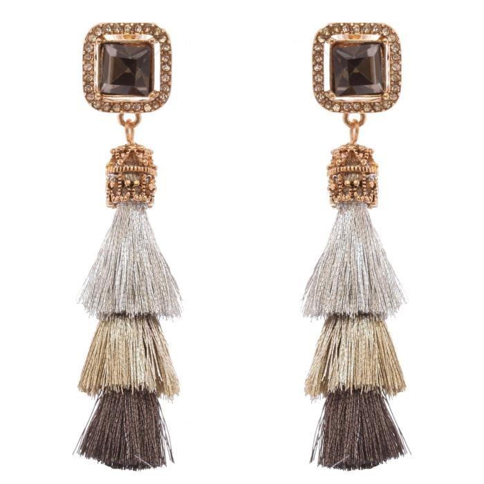 Womens Vintage Style Triple Tassel Long Dangle Earrings NPOO8