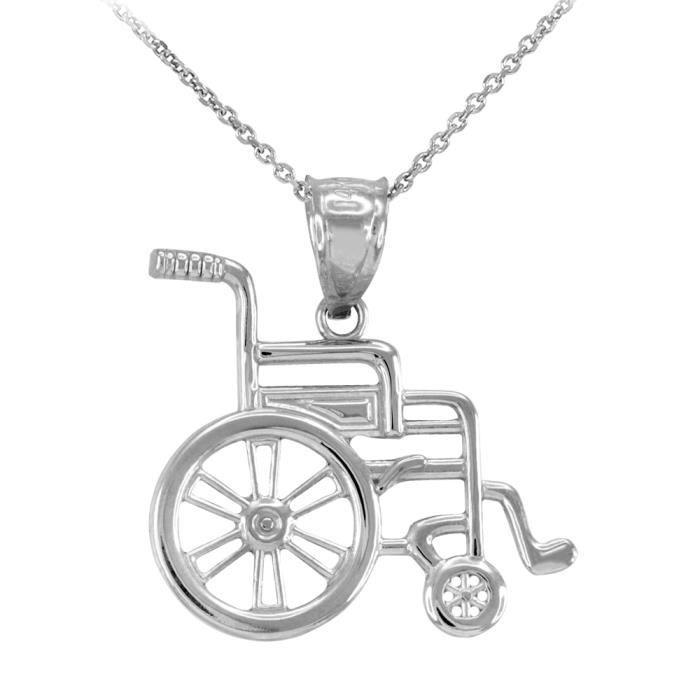 Collier Femme Pendentif 925 Argent Fin Handicap DInvalidité Sensibilisation Fauteuil Roulant (Livré avec une 45cm Chaîne)