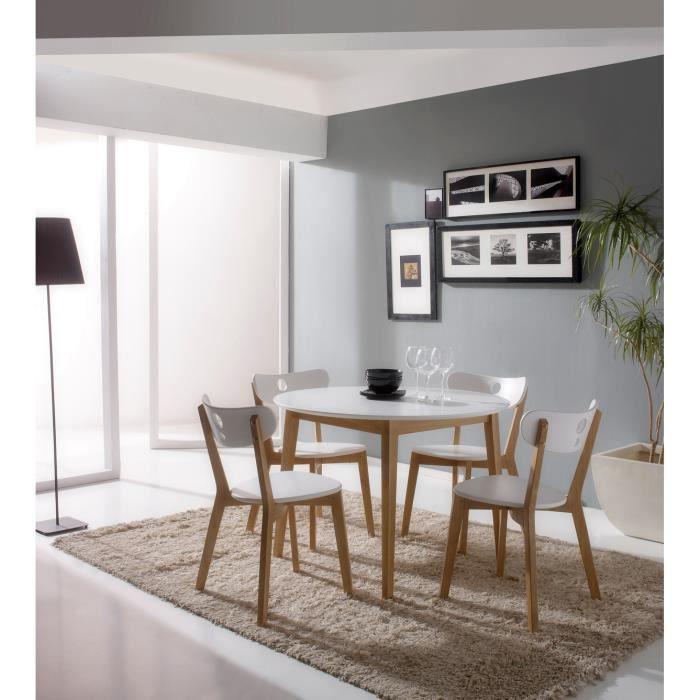 Table de repas ronde aida laqu blanc 100 cm 4 chaises for Salle manger table ronde 100 cm