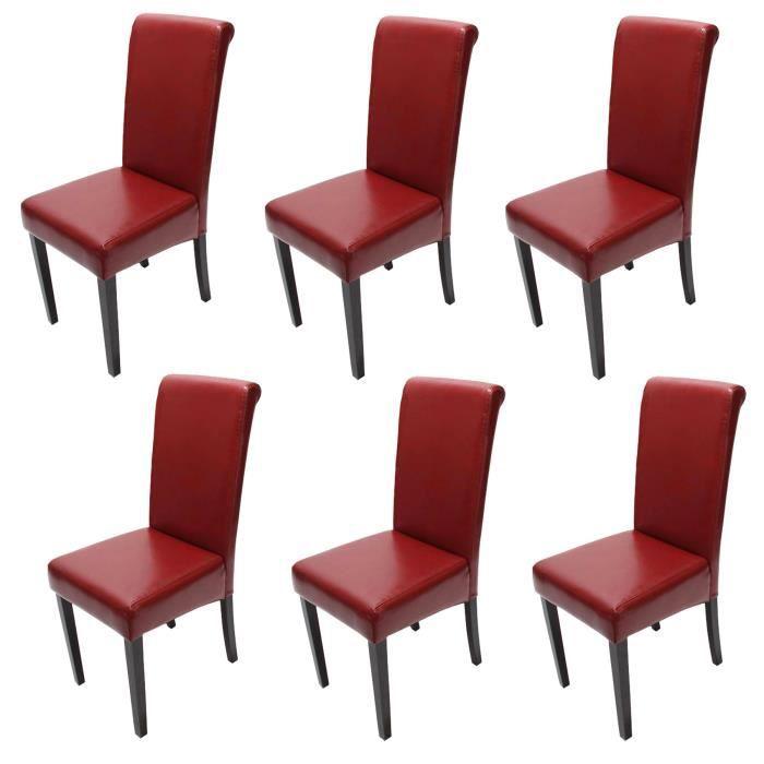 CHAISE Lot de 6 chaises de séjour Novara II, cuir, rouge/