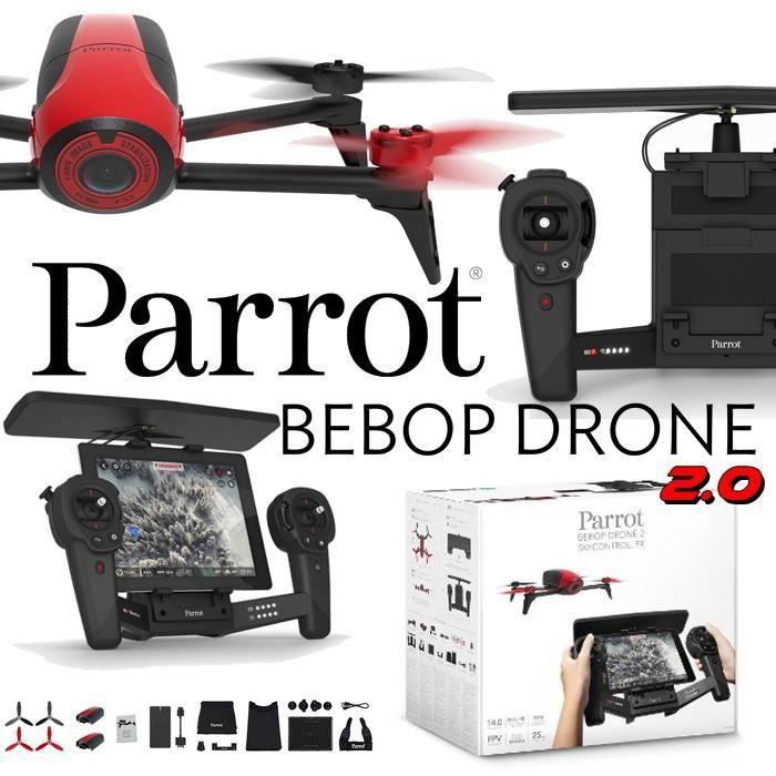 Parrot Bebop 2 Rouge avec Skycontroller Black Edition - GPS