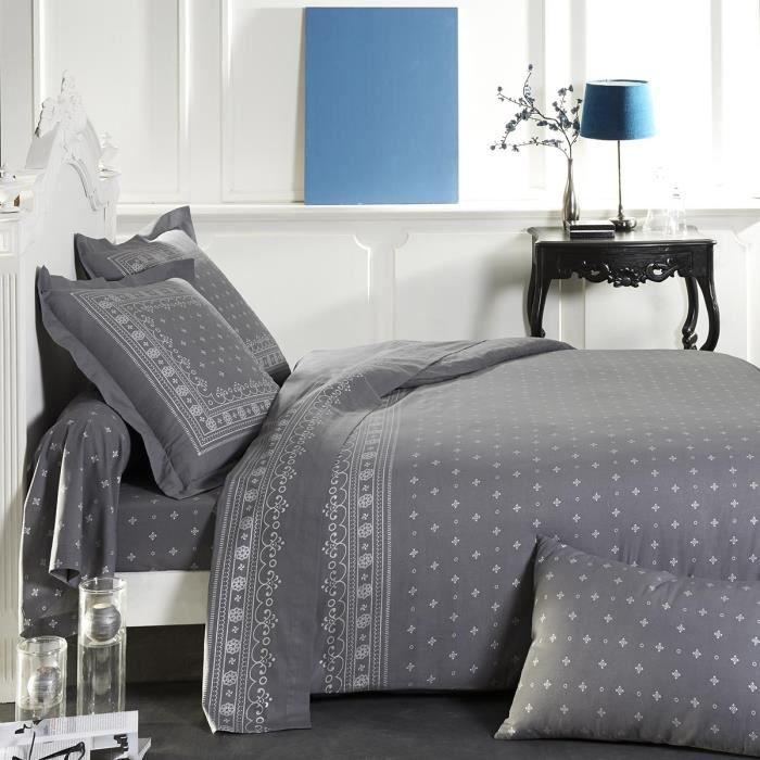 Housse de couette coton gris argent 260 x 240 c achat - Housse de couette gris clair ...