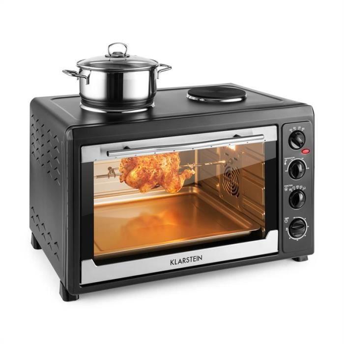 ba507f6a58dfa2 Klarstein Masterchef 60 Mini four électrique 60 litres   2 plaques de  cuisson 1600W (2500W, grill,broche, chaleur tournante ) - noir