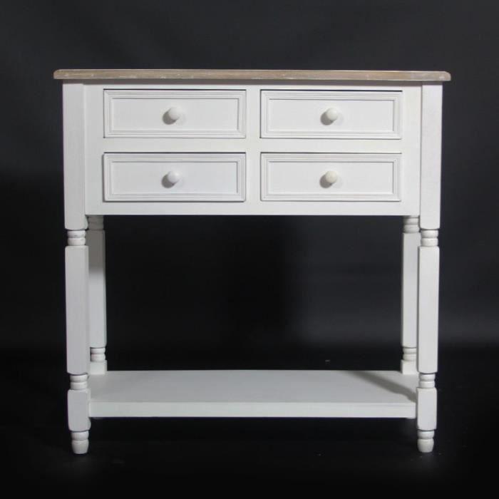 Console milan 4 tiroirs dessus bois blanc achat for Meuble 80 cm de longueur