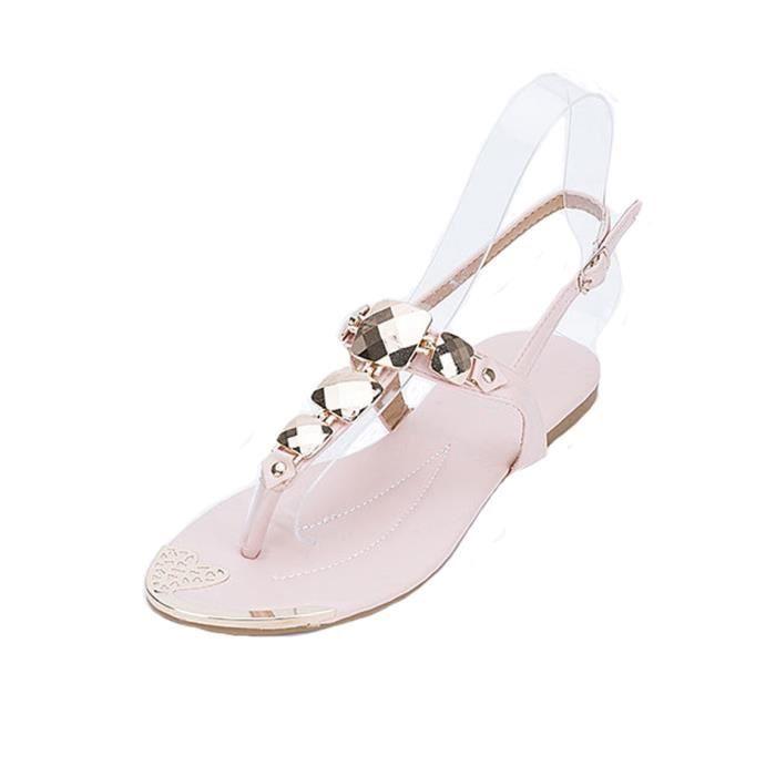 Mode Européen Faux Diamant Chaîne Rome Flip Sandales Loisir Grande Taille Bohême Pierres de Strass Chaussures Femme Été Hvxl4Tn