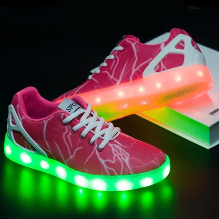 Mode 7 couleurs LED lumineux chaussures femmes Casual chaussures USB charge lumière chaussures colorées Glowing chaussures plates