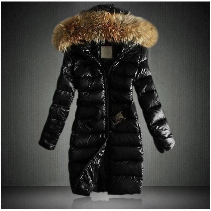 e7f4292f73af9 Doudoune femme longue à capuche fourrure parka fourrure femme manteau femme  hiver Grande Taille classique Noir Duvet Épais