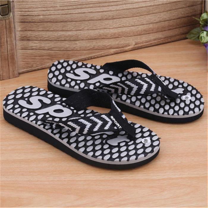 pantoufle salle de bain hommes Antidérapant chaussures sandale de plage pour homme Poids Léger chaussures sand dssx117noir43