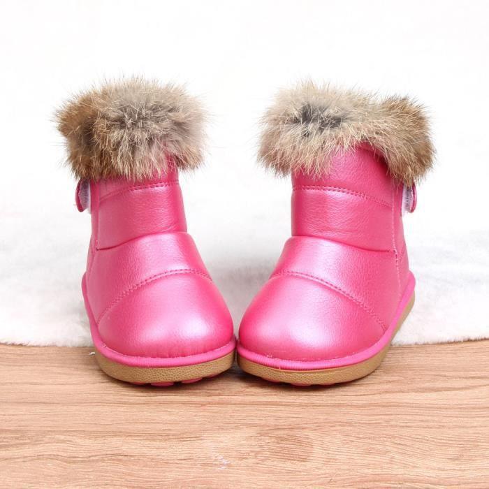 Coton hiver bébé garçons filles enfants chaussures en cuir Martin bottes Chaud ChaussuresRose vif