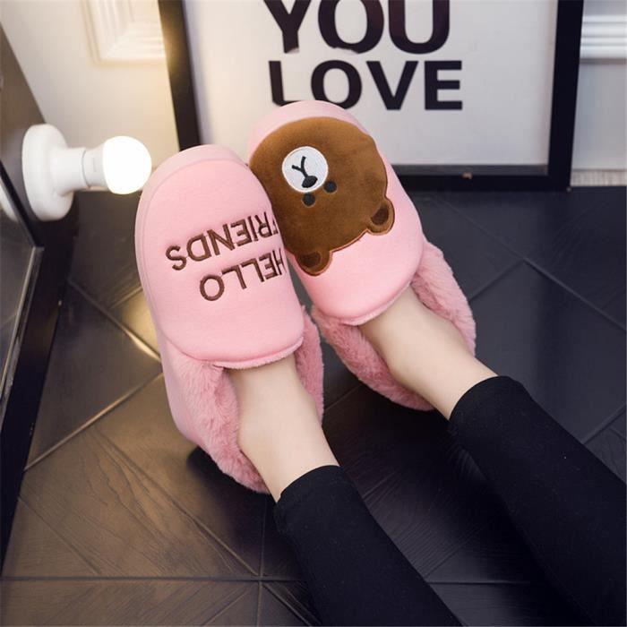 Ours Chausson Hiver Femme Garde Au Chaud Coton Chaussons Antidérapant Haut qualité Confortable Chaussure Taille 36-45