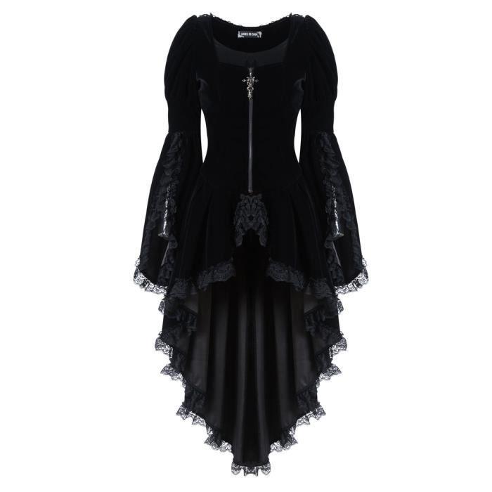 073417eb2d9 Veste robe noire en velours avec dentelle et fermeture éclair ...