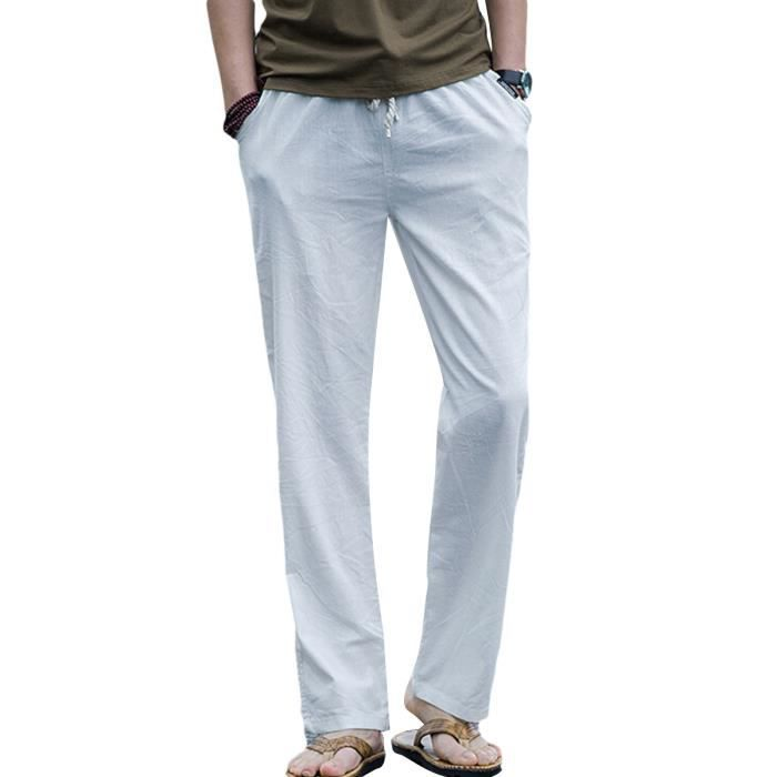 Couleur casual unie Lin Pantalon Homme Chino mode FwqHp0W