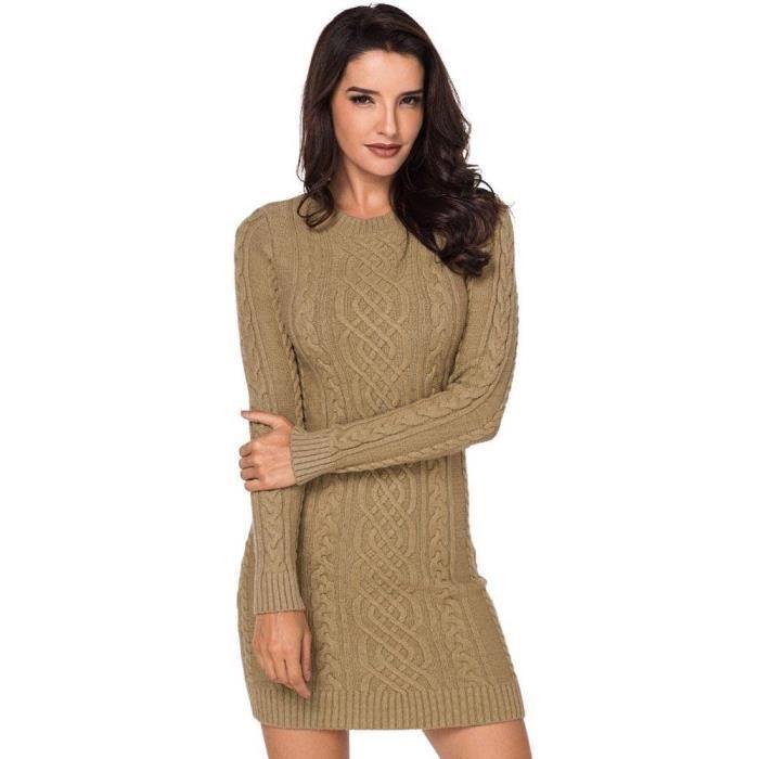ec0d9aa8b06 Robe Pull Femme en Maille Torsadé Automne Hiver Slim Fit Manches Longues  Couleur Unie