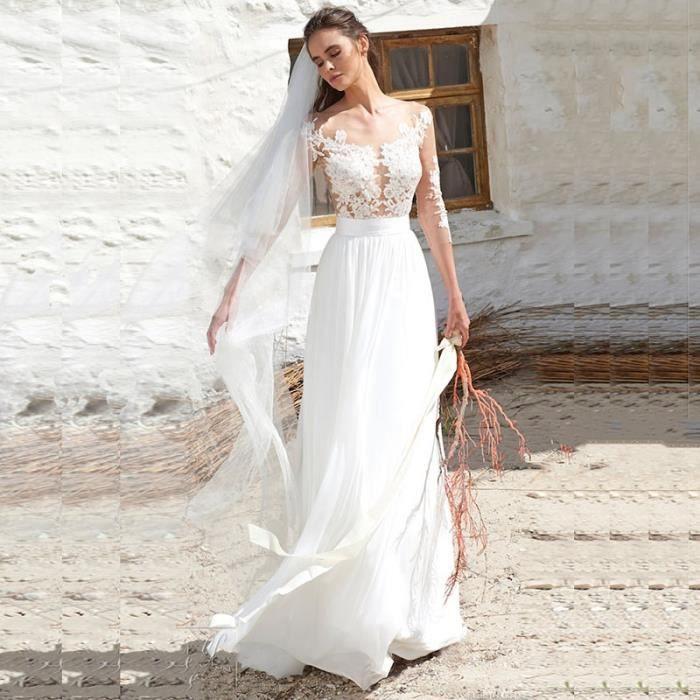 Robe De Mariée Longueur Du Sol Manches 3 4 Dos Nu Avec Ruban De Satin Et Appliques Dentelle élégante Et Sexy 32 50 Blanc