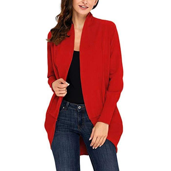 Femmes Cardigan rouge Manches Avant En Ouvert Vrac Drapé À Away Fly Plus Longues r4RprwqH