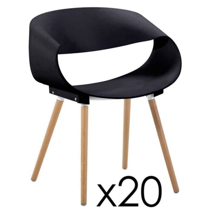Lot De 20 Chaises Design Bois Jordana 64cm Noir Achat Vente