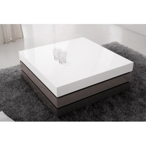 Table Basse Design Laque Gris Taupe Blanc 3 Plateaux Pivotants Avec