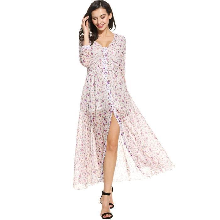 robe tunique Femmes manches longues Casual imprimé Floral V cou bouton