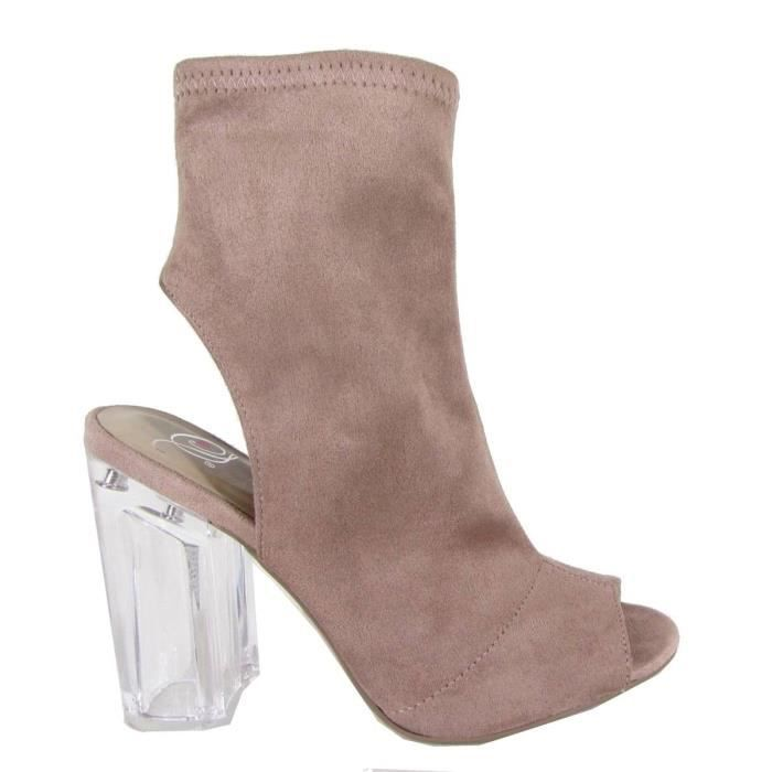 Delicious Mi-mollet Lucite Stacked Bloc Chunky talon Peep Toe Bootie S11PH Taille-38 1-2