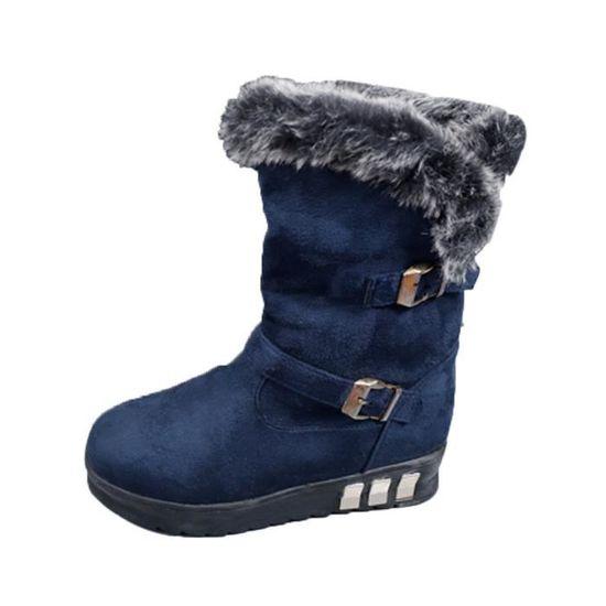 Jeffrey®Femmes Bottes Slip-On Soft Bottes de neige bout rond plat Bleu fourrure d'hiver Bottines@Bleu Bleu Bleu plat - Achat / Vente slip-on 8c76d4