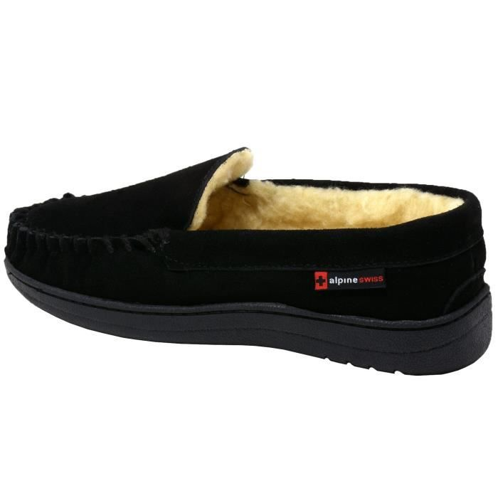 Yukon Mens Suede Shearling Slip On Moccasin chaussons EMG5V Taille-47 MwPlXCn6X