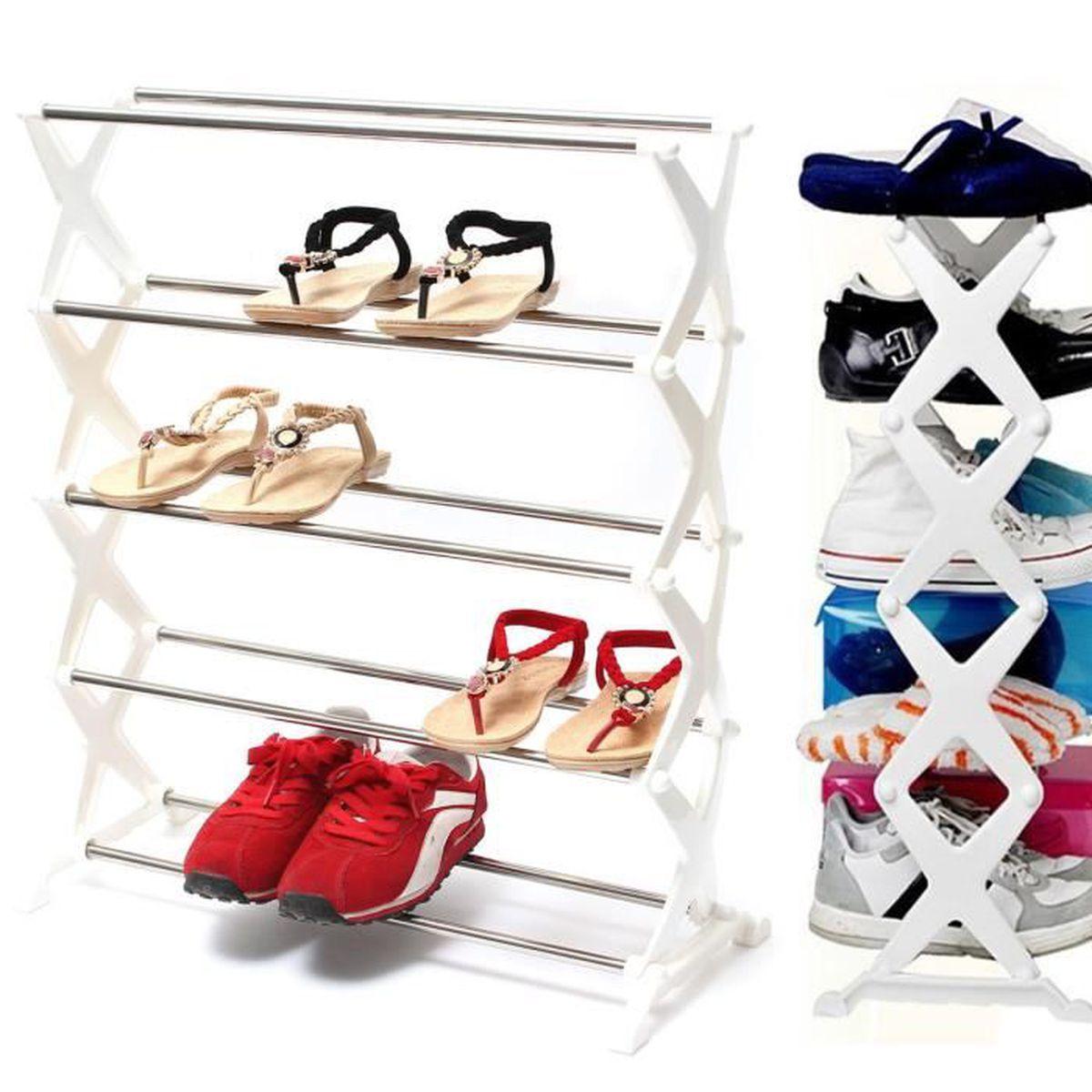 Etagere A Chaussures Armoire Placard 5 Niveaux Meuble Rangement