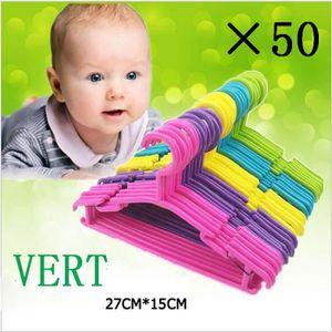 CINTRE Lot de 50 cintres pour bébé VERT en plastique sur