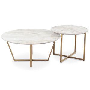 TABLE BASSE Ensemble de 2 tables basses Isadora Effet Marbre
