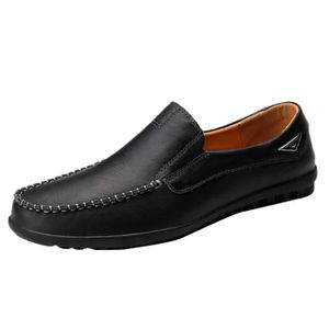 4cddef7474f4 exquisgift Cuir Hommes Lazy Chaussures souples Mocassins Mode Hommes  Chaussures Flats Comfy Driving Noir
